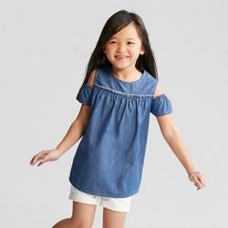 Girls' Denim Cold Shoulder Short Sleeve Top - Cat & Jack™ Blue