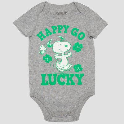 Peanuts Baby Boys' Snoopy 'HAPPY GO LUCKY' Short Sleeve Bodysuit - Gray/Green Newborn