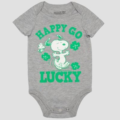 Peanuts Baby Boys' Snoopy 'HAPPY GO LUCKY' Short Sleeve Bodysuit - Gray/Green 3-6M