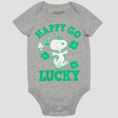 Peanuts Baby Boys' Snoopy 'HAPPY GO LUCKY' Short Sleeve Bodysuit - Gray/Green 6-9M