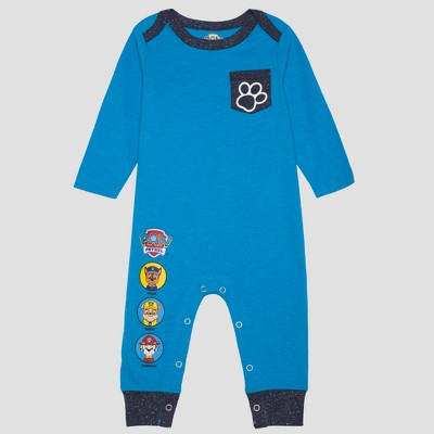PAW Patrol Baby Boys' Long Sleeve Romper with Paw on Pocket - Blue NB