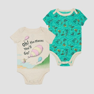 Dr. Seuss Baby Boys' Short Sleeve Bodysuit - Teal/Oatmeal 3-6M
