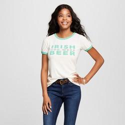 Women's St. Patrick's Day Irish You Were Beer Short Sleeve Ringer T-Shirt - Zoe + Liv - White