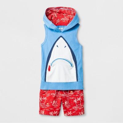 Toddler Boys' Genuine Kids® from OshKosh Shark Sleeveless Hoodie and Shorts Set - Red 12M