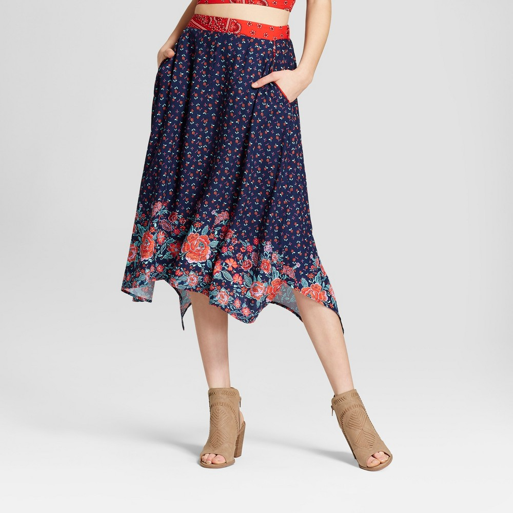 Image of Women's Floral Print Embroidered Floral Maxi Skirt - Xhilaration Navy S, Blue