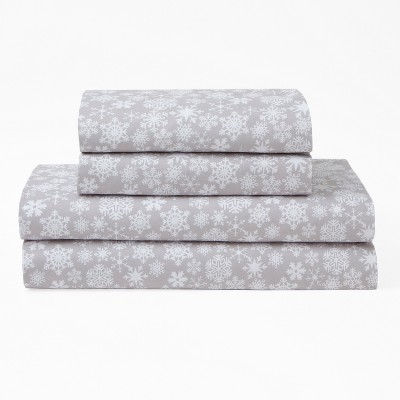 Misrofiber Holiday Print Sheet Set (Queen)Gray - Elite Home