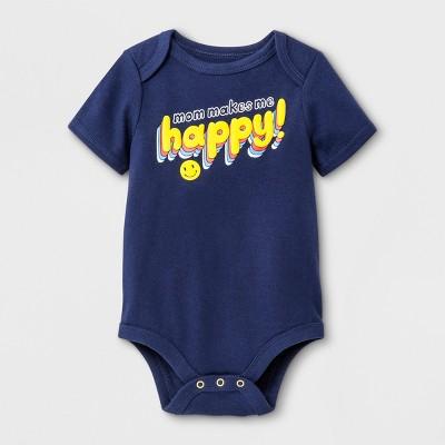 Baby Boys'  Mom Makes Me Happy  Short Sleeve Bodysuit - Cat & Jack™ Navy 6-9M