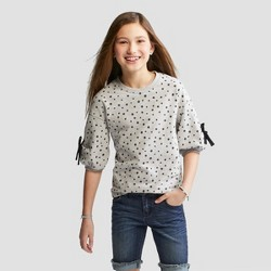 Girls' Polka Dot Tie Sleeve Top - Cat & Jack™ Gray/Black