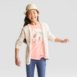 Girls' Open Layering Sweater - Cat & Jack™ Oatmeal