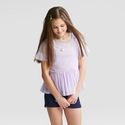 Girls' Short Sleeve Peplum Top - Cat & Jack™ Purple