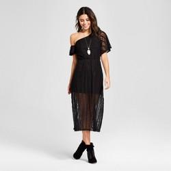 Women's Lace One Shoulder Illusion Midi Dress - Le Kate (Juniors') Black
