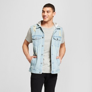 Men's Destructed Denim Trucker Vest - Jackson™ Light Indigo