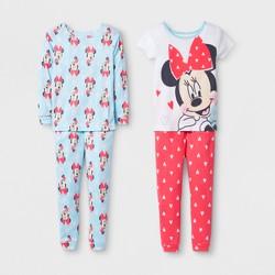 Toddler Girls' Minnie Mouse 4pc Cotton Pajama Set - White