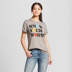 Women's Know Your Worth Short Sleeve Graphic T-Shirt - Mighty Fine (Juniors') - Gray