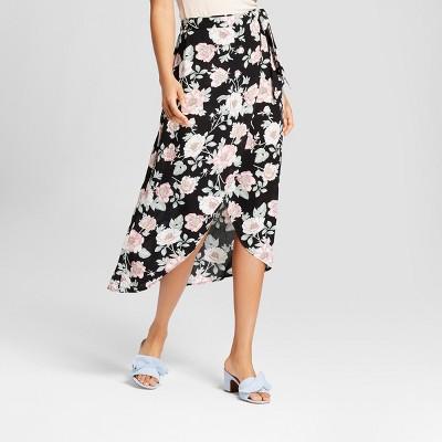 07a3b5260d Women s Floral Print Wrap Maxi Skirt – Xhilaration™ Black XS – BrickSeek