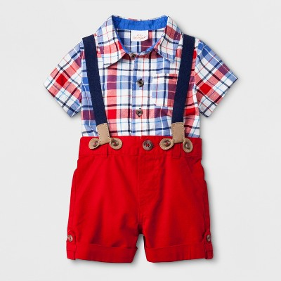 Baby Boys' 2pc Button-Down Short Sleeve Bodysuit and Shorts with Suspenders Set - Cat & Jack™ Red/Blue 6-9M