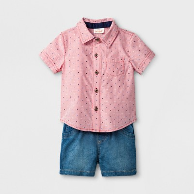 Baby Boys' 2pc Button Short Sleeve Down Collared Shirt and Knit Denim Short Set - Cat & Jack™ Red 12M