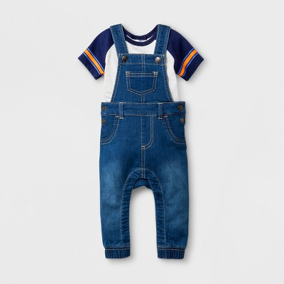 Baby Boys' Knit Denim Overall and Short Sleeve Bodysuit Set - Cat & Jack™ Medium Wash 3-6M