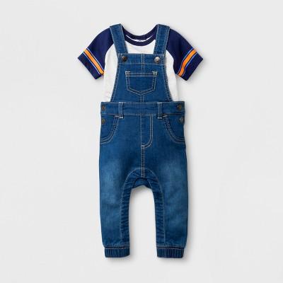Baby Boys' Knit Denim Overall and Short Sleeve Bodysuit Set - Cat & Jack™ Medium Wash 18M