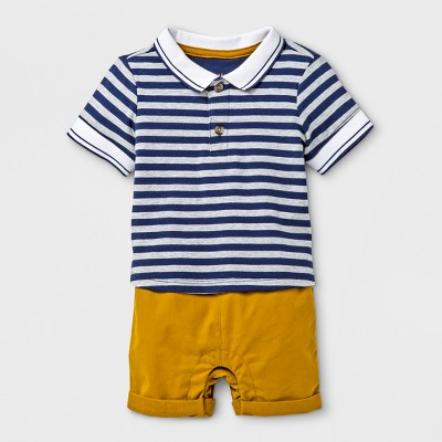 Baby Boys' Collared Romper - Cat & Jack™ Navy/Khaki 0-3M