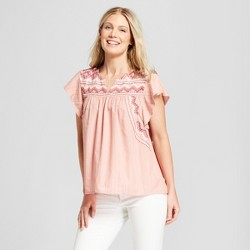 Women's Pinstripe Short Sleeve Embroidered Top - Knox Rose™ Peach