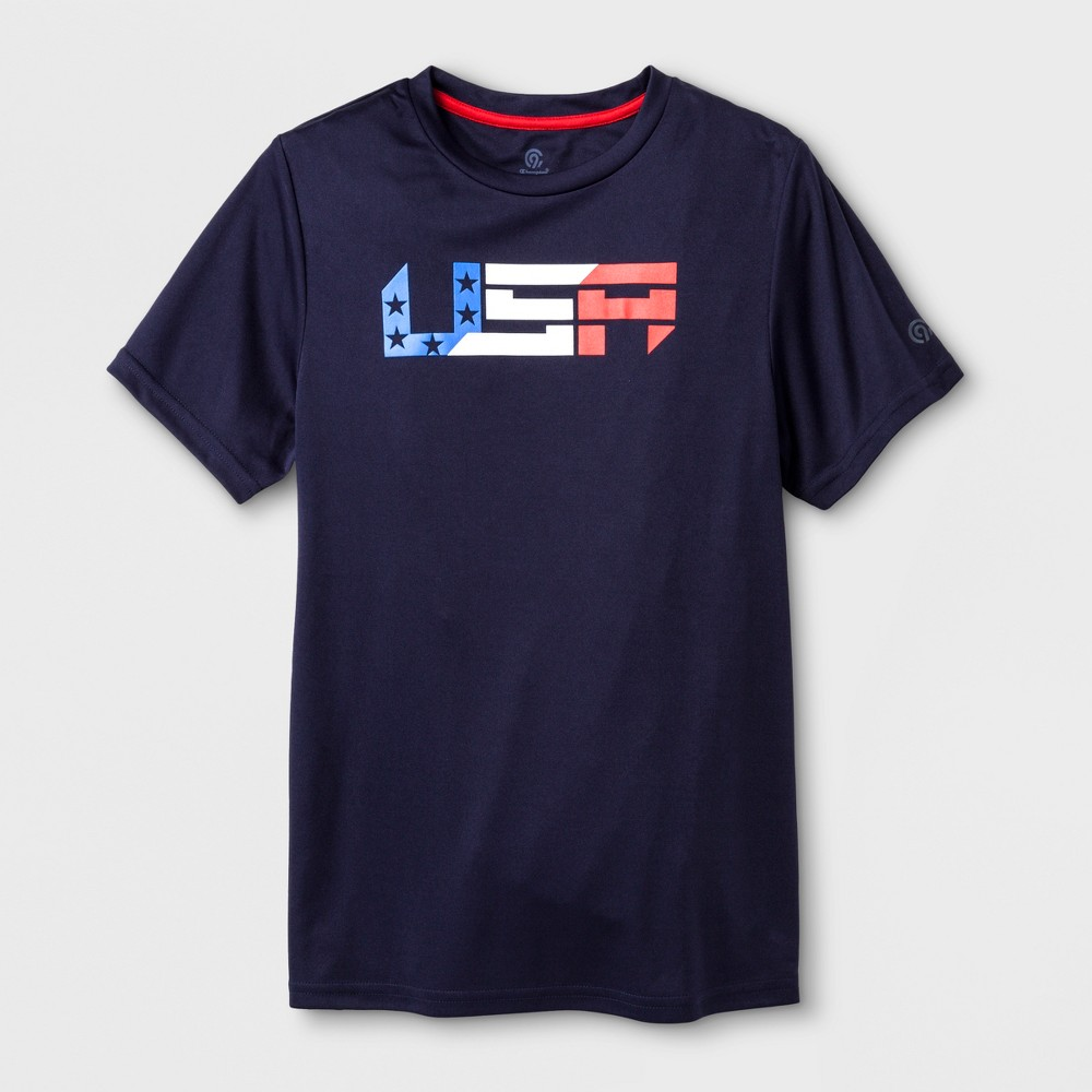 Boys' USA Graphic Tech T-Shirt - C9 Champion Navy M, Blue