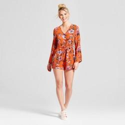 Women's Bell Sleeve V-Neck Floral Romper - Almost Famous (Juniors') Orange