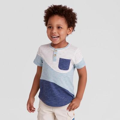 Toddler Boys' Genuine Kids® from OshKosh Short Sleeve Wave Henley Shirt - Blue 18 M