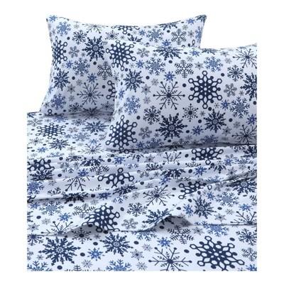 Tribeca Living Printed Cotton Flannel Extra Deep Pocket Sheet Set California King - Blue/White