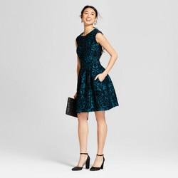 Women's Velvet Flocked Fit and Flare Dress - Melonie T Green/Black