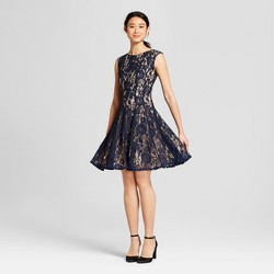 Women's Seamed Down Lace Fit and Flare Dress - Melonie T Blue