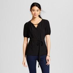 Women's Short Sleeve Tie Waist Keyhole Top - Lux II Black