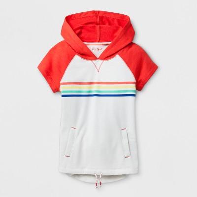 Girls' Short Sleeve Multi Stripe Hoodie - Cat & Jack™ Cream L