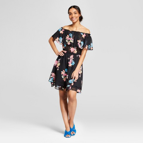 Women's Floral Print Off the Shoulder Tiered Hem Dress - A New Day™ Black - image 1 of 3