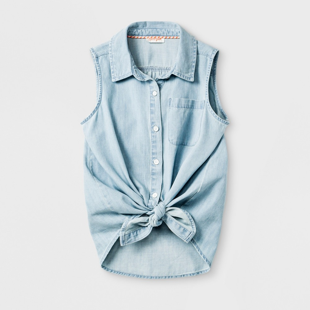 Plus Size Girls' Sleeveless Tie Front Denim Button-Down Shirt - Cat & Jack Light Blue XL Plus