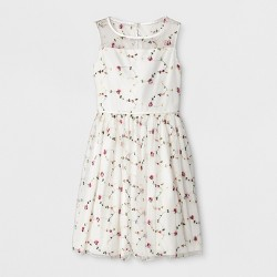 Lots of Love by Speechless Girls' Floral Embroidered A line Dress - Ivory