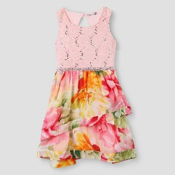 Lots of Love by Speechless Girls' Floral Glitter Lace Tiered Skirt Dress - Blush