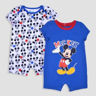 Mickey Mouse & Friends Baby Boys' Mickey Mouse 2pk Romper Set - Blue 0-3M