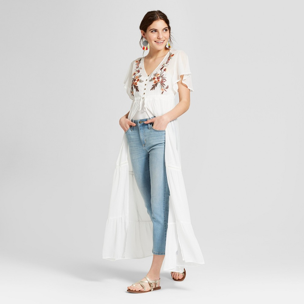 Women's Short Sleeve Button Front Duster Kimono - Xhilara...