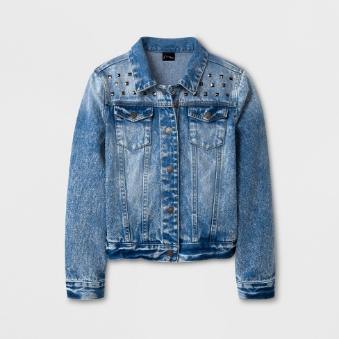 Girls' Embellished Denim Jacket - art class™ Blue - image 1 of 2