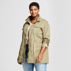 Women's Plus Size Military Jacket - Ava & Viv™ Olive