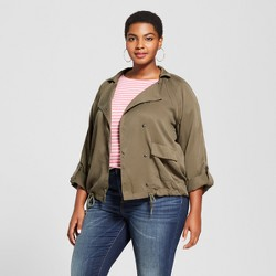 Women's Plus Size Drapey Military Jacket - Ava & Viv™ Green