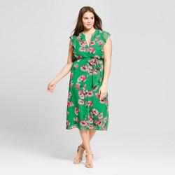 Women's Plus Size Ruffle Sleeve Midi Dress - Who What Wear™