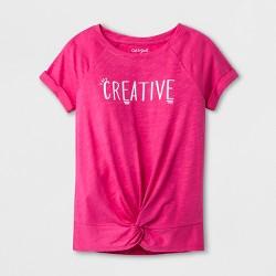 Girls' Short Sleeve Creative Graphic Top - Cat & Jack™ Pink