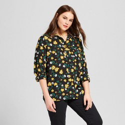 Women's Plus Size Long Sleeve Silky Button Up Blouse - Who What Wear™