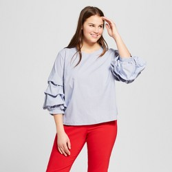 Women's Plus Size 3/4 Sleeve Pick-Up Blouse - Who What Wear™