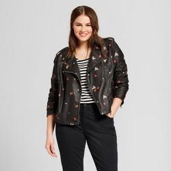 Women's Plus Size Printed Moto Jacket - Who What Wear™ Floral Print