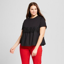 Women's Plus Size Short Sleeve Knit to Woven T-Shirt - Who What Wear™