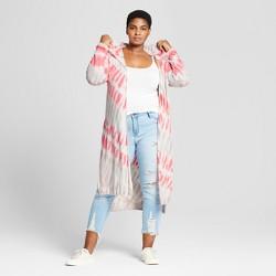 Women's Plus Size Tie Die Long Knit Cardigan - Ava & Viv™ Coral