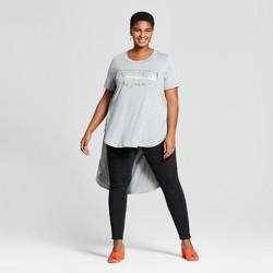 Women's Plus Size Graphic High-Low Short Sleeve T-Shirt - Ava & Viv™ Heather Gray